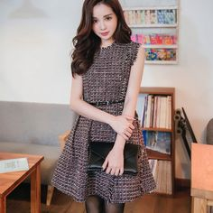 Tweed Sleeves Dress - Strawberrycoco