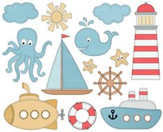 Nautical Clip Art, Sailboat Anchor Clipart, Sea Clip Art, Ocean Clipart, Light House, Lighthouse, Instant download