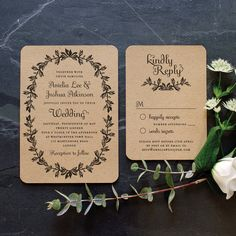 Rustic Recycled Wedding Invitation / 'Vintage by twoforjoypaper