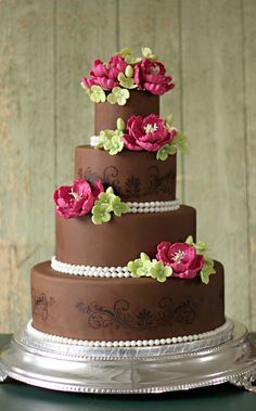 The Couture Cakery • Designer Cakes, Cupcakes, Dessert Table Designs in Central Pennsylvania: Chocolate brown, fuchia and lime green wedding cake...love it!