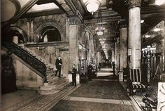 The block-long lobby of the original Waldorf-Astoria Hotel, where the Empire State Building stands today