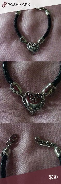 Brighton Heart ❤️Bracelet Black braided leather - EXCELLENT CONDITION Brighton Jewelry Bracelets