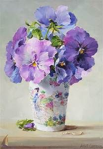 Blue Pansies - Blank Card by Anne Cotterill Flower Art China Painting, Watercolour Painting, Watercolor Flowers, Painting & Drawing, Painting Flowers, Watercolours, Art Floral, Botanical Art, Pansies