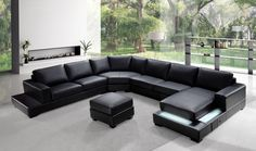 Modern Black Leather Sectional Sofa Set with Ottoman