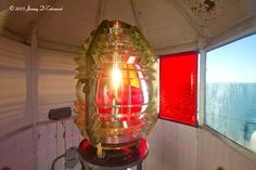 The still active 4th order Fresnel lens at Browns Head Light, Vinalhaven, Maine,
