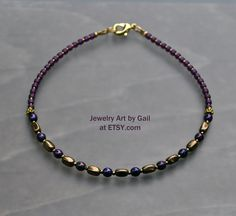 Items similar to Plum Purple and Antique Gold Beaded Anklet on Etsy Beaded Jewelry Designs, Bracelet Designs, Beaded Anklets, Beaded Bracelets, Boho Accessories, Jewelry Polishing Cloth, Plum Purple, Jewelry Case, Ankle Bracelets