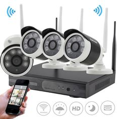 4CH NVR System P2P 960P Wireless WIFI Network IP Camera Outdoor Security CCTV #SUNCHAN