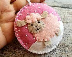 Felt Christmas Sheep ornament, Sheep Christmas Ornament, Sheep Decoration, Pink Lamb, White & Black Sheep Christmas Decoration, Decor