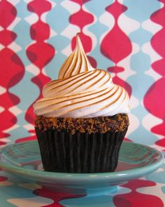 Chocolate Graham Cracker Cupcakes with Toasted Marshmallow
