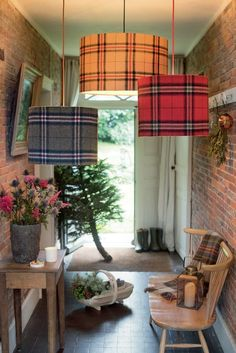 """""""British,"""" but it looks to me like this is more like Scottish. The tan would be great in the living room Tartan Decor, Motif Tartan, Tartan Plaid, French Country Living Room, Boho Home, Home Decor Accessories, Cheap Home Decor, Decoration, Decor Diy"""