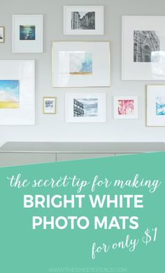 Wondering how to make bright white picture frames mats on the cheap? Need to replace those slightly yellow IKEA Ribba frame mats? Got some DIY artwork you need to frame? I'm spilling my secret on how to make mats suuuuuper cheaply. Click through to find out how!