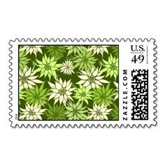 Green Flowers postage  #postage #stamp #stamps #zazzle #flowers #floral #flower #nature