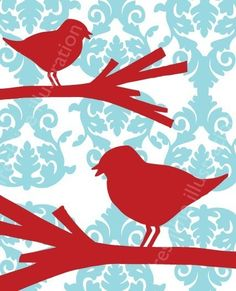 Turquoise and Red - Red Birds on Branches on Blue 8x10 Art Print by Freshline on Etsy, $18.95