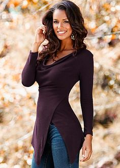 Dark Purple (DRKP) Draped Cowl Sweater $29  A look that will set you apart from the others is easy in this sweater! · 	 Cowl neck with an exaggerated surplice hem   · 	 Poly/spandex   · 	 Imported  · 	Style #Y37509