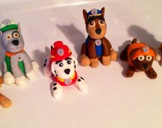 6 Paw Patrol Inspired Cake / Cupcake Topper Decorations - Edible Fondant Puppies Dogs