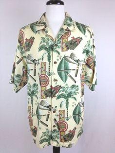 Tommy Bahama Mens Cigar Print 100 Silk Button Up Camp Shirt Hawaiian L Nice | eBay