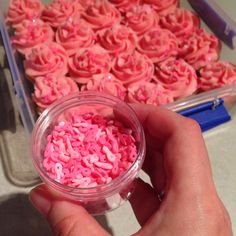 Gorgeous wee breast cancer awareness ribbon sprinkles to decorate cupcakes for my NZ Breast Cancer Foundation fundraiser afternoon tea! May 2015