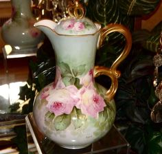 Limoges Fabulous Chocolate Pot with Pink Roses Signed Master French Artist Segur