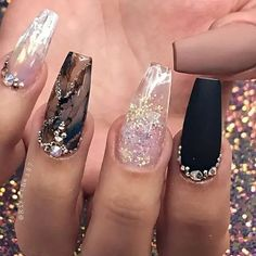 Multicolor Nails with Diamond Encrusted Cuticles Cute Acrylic Nail Designs, Classy Nail Designs, Pretty Nail Designs, Cute Acrylic Nails, Nail Art Designs, Nails Design, Classy Nails, Fancy Nails, Cute Nails