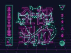 Crypto Cats by Daniel Haire for Robinhood on Dribbble Neon Design, Logo Design, Design Tech, Graphic Design Posters, Graphic Design Inspiration, Vaporwave, Presets Photoshop, Fuchs Illustration, Neon Led