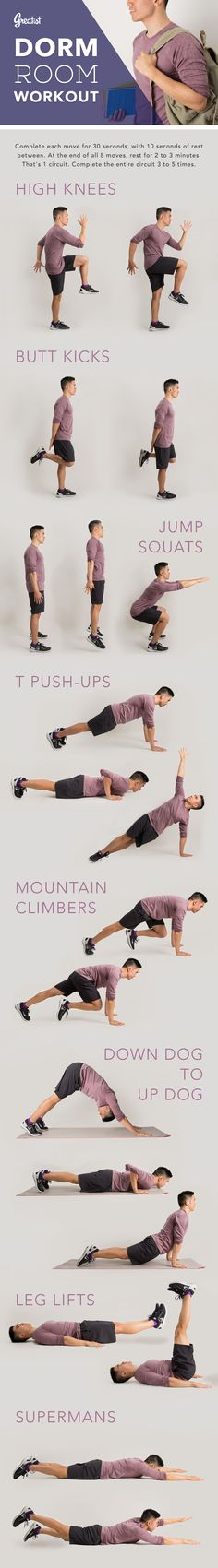 Spending a lot of time indoors studying? Heres 8 simple moves to keep fit. #quick #bodyweight #workout