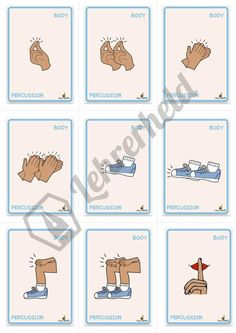 """Die Body-Percussion-Karten Excerpt from the material """"The Body Percussion Cards"""" school Music Activities For Kids, Preschool Music, Teaching Music, Kindergarten Activities, Kids Learning, Music Lesson Plans, Music Lessons, Body Percussion, Teacher Must Haves"""