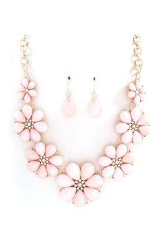Sweet pink vintage inspired necklace.