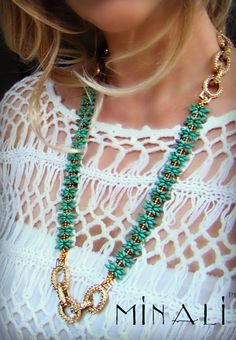 REINE - TURQUOISE & GOLD PAVE' CRYSTAL STATEMENT NECKLACE - ONE OF A KIND