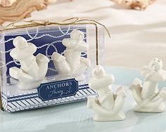 Choose Anchors Away Anchor Shaped Ceramic Salt and Pepper Shakers as your nautical themed party favor. The salt and pepper shakers are made of white ceramic with anchor shape and a glossy finish. Nautical Wedding Favors, Summer Wedding Favors, Nautical Bridal Showers, Wedding Favors For Guests, Unique Wedding Favors, Wedding Gifts, Wedding Ideas, Wedding Beach, Wedding Decor
