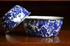 Vintage Blue Enamelware Bowls  Set of 2 by ManintheMountain, $12.00