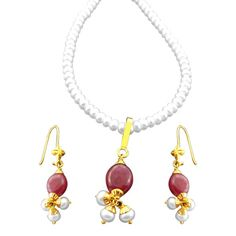 Jpearls Single Line Pearl Chain With Ruby-Pearl Drop Earrings