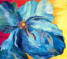 Peacock Flower Art Quilt by Barbara Olson