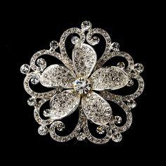 Vintage Inspired Crystal Floral Bridal Hair Brooch - LOVE THIS!