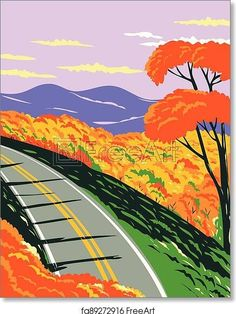Skyline Drive at the Shenandoah National Park with the Blue Ridge Mountains During Fall in Virginia WPA Poster Art - Artwork - Art Print from FreeArt.com