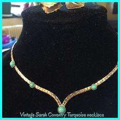 """Vintage Sarah Coventry omega turquoise necklace Vintage Sarah Coventry silver tone, omega & carbonated turquoise necklace, 16"""", beautiful piece I have added a pair of clip on earrings! Vintage Sarah Coventry Jewelry Necklaces"""