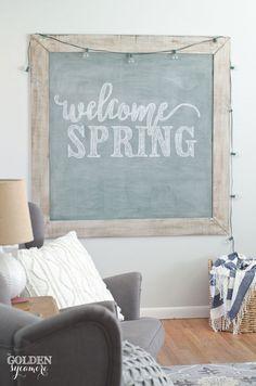 welcome spring extra large vintage chalkboard