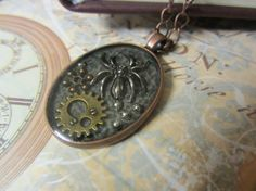 Steampunk Pendant Spider and cog embedded by InspiredbySteamPunk