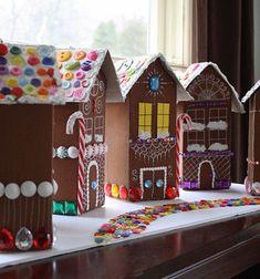 Gingerbread houses from milk cartons // Mézeskalács házak tejes tobozokból // Mindy - craft tutorial collection // #crafts #DIY #craftTutorial #tutorial #ChristmasCrafts #Christmas