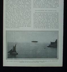 1902 Aeronautics Santos Dumont Airship No 6 Monaco Bay Flight Ballooning | eBay
