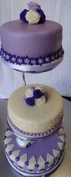 Big wedding cake purple and white