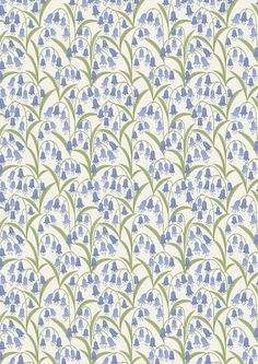 BTHY - Bluebell Wood by Lewis & Irene, #A127.1 Bluebell Fields on Cream, Periwinkle flowers, green stems. Nature Inspired Line, HALF YARD