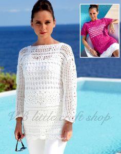 Lady's blouse, summer top crochet pattern. Instant PDF download! by VBlittlecraftshop on Etsy