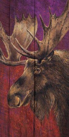Moose painted on fence wood.