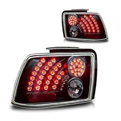 WinJet WJ20-0019-04 | 2002 Ford Mustang Black LED Taillights for Coupe