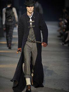 Best Menswear show of all time- Alexander McQueen Mens F/W Milan. I want that coat or big cardigan! Style Steampunk, Steampunk Clothing, Steampunk Fashion, Victorian Fashion, Modern Victorian, Look Fashion, High Fashion, Womens Fashion, Fashion Design