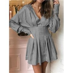 Simple Cheap Chic, Shop Gray Cotton Blend V-neck Ruched. Simple Cheap Chic, Shop Gray Cotton Blend V-neck Ruched. Simple Cheap Chic, Shop Gray Cotton Blend V-neck Ruched Detail Batwing Sleeve Mini Dress online. Mode Outfits, Stylish Outfits, Dress Outfits, Fashion Dresses, Stylish Clothes, Prom Dresses, Casual Clothes, Wedding Dresses, Short Dresses