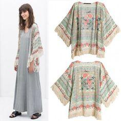 Women's Vintage Retro Ladies Hippie Loose Style Kimono Floral Coat Cape Blazer Jacket Tops