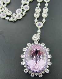 Ferro Jewelers - Estate Jewelry | 29.52CT KUNZITE & DIAMOND NECKLACE SET IN 18K WHITE GOLD