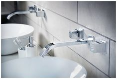 Contemporary wall-mounted taps are ideal teamed with sit-on basins Bathroom Sink Organization, Bathroom Sink Design, Bathroom Shelf Decor, Bathroom Taps, Bathroom Furniture, Basin Taps, Basins, Wall Mounted Taps, Minimalist Bathroom Design