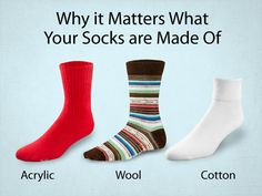 Before you put on your next pair of socks, consider the activity you're about to do, the weather and your health. Here's the scoop on the 3 main types of sock fabrics. #socks #fabric